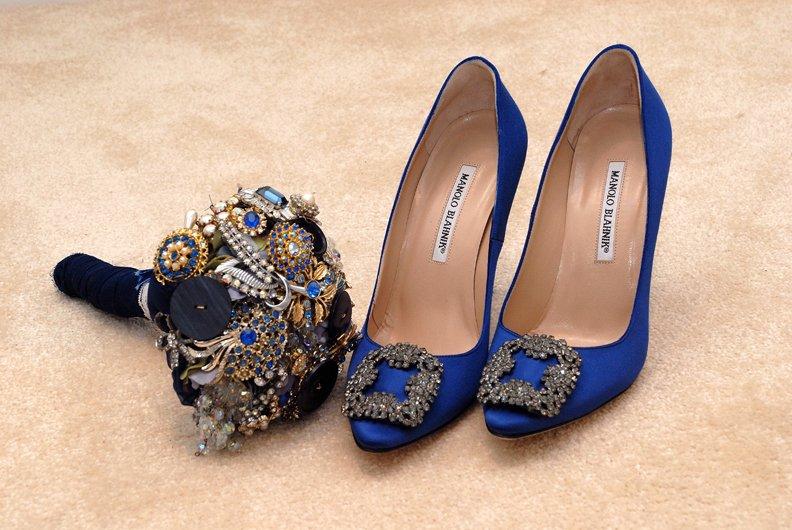 Hand Made Bouquet and Molono Blahnik Wedding Shoes. kent bride