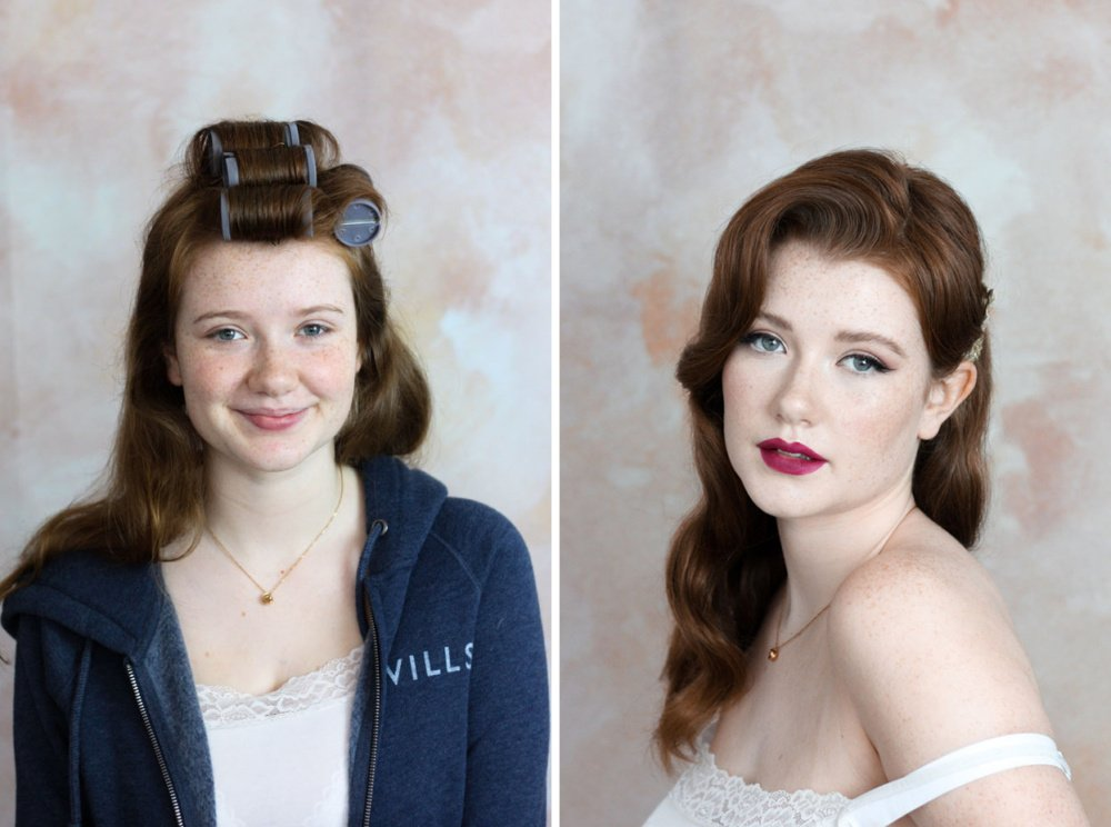 vintage before and after makeup