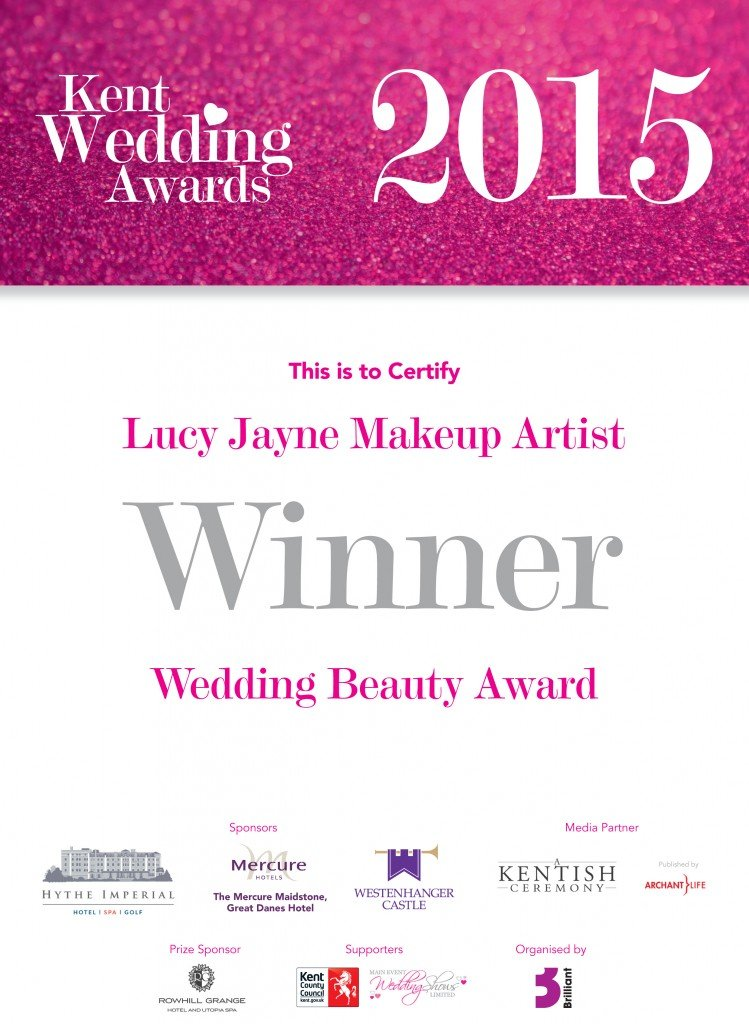 Kent Wedding Awards Certificate lucy Jayne Makeup