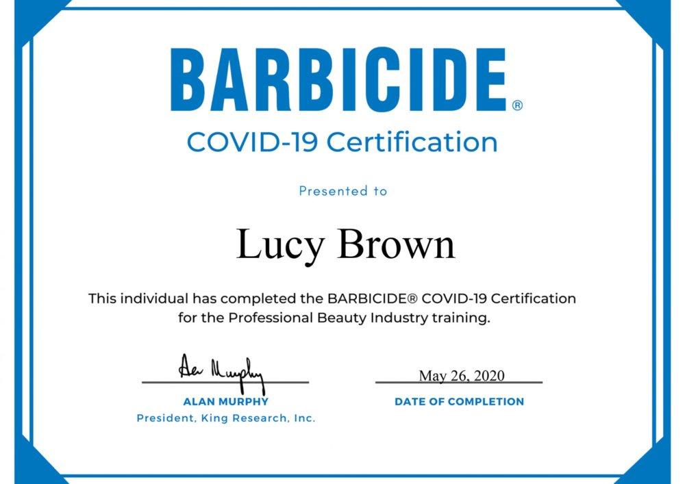 barbicide covid-19 certificate